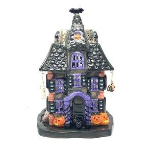 "Ceramic Haunted House Luminary 11"" x 7"""